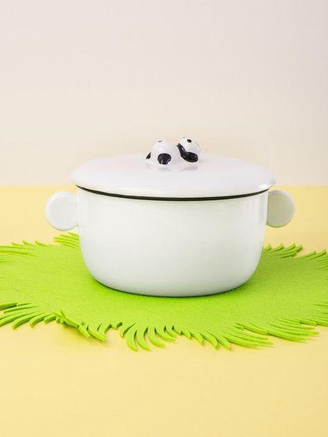 Biała miska ceramiczna z pokrywką                              zdj.                              5