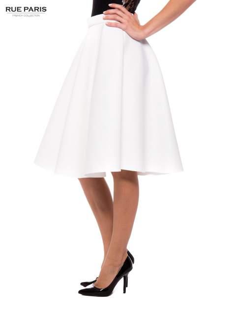 Biała neoprenowa spódnica midi szyta z koła                                  zdj.                                  3