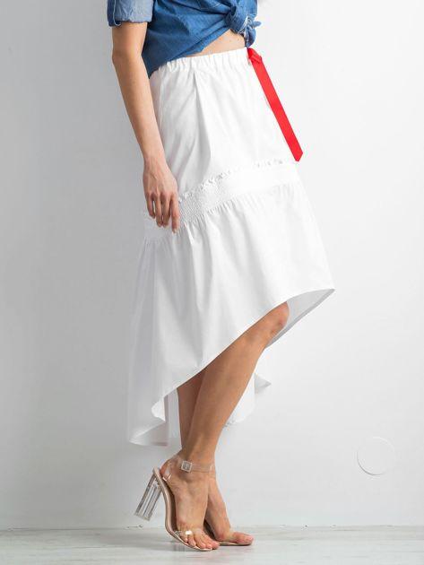 Biała spódnica z troczkami BY O LA LA                              zdj.                              3