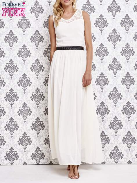 Biała sukienka maxi ze skórzanym pasem a'la ćwieki                                  zdj.                                  1