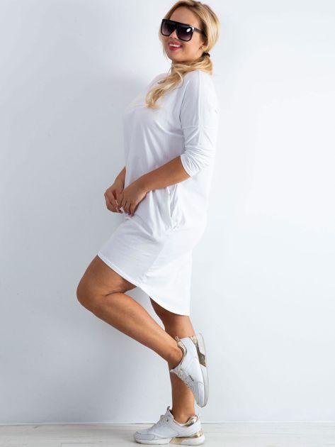 Biała sukienka oversize z bawełny                              zdj.                              3