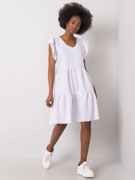Biała sukienka w groszki Aubriella RUE PARIS