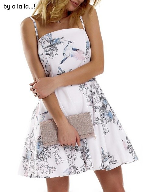Biała sukienka w malarskie desenie BY O LA LA                              zdj.                              6