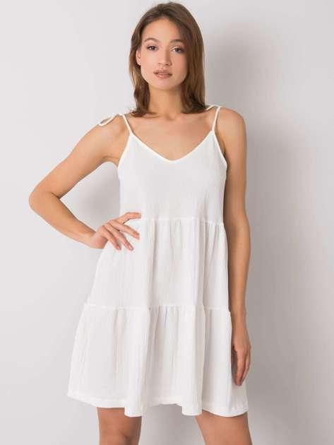 Biała sukienka z falbaną Manon RUE PARIS