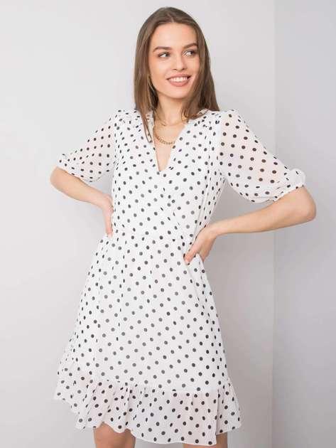 Biała sukienka z falbaną Paloma SUBLEVEL