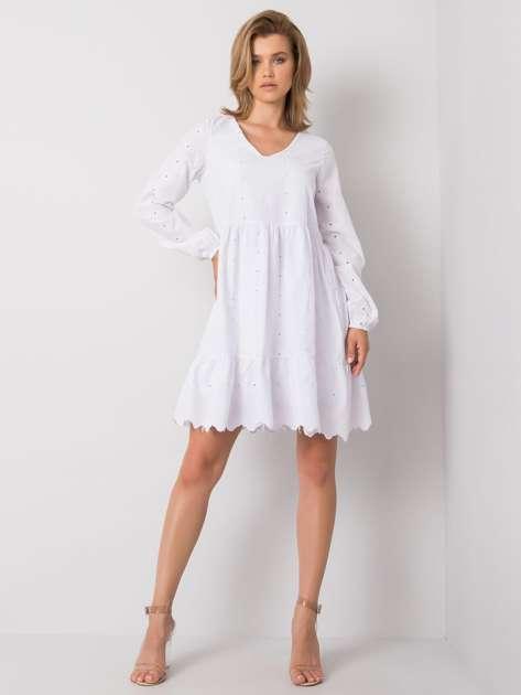 Biała sukienka z falbaną Zayda RUE PARIS