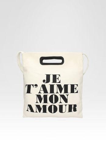 Biała torba shopper bag z napisem JE T'AIME MON AMOUR                                  zdj.                                  1