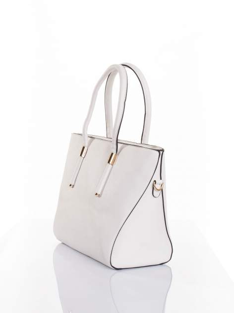 Biała torba shopper efekt saffiano                                  zdj.                                  3