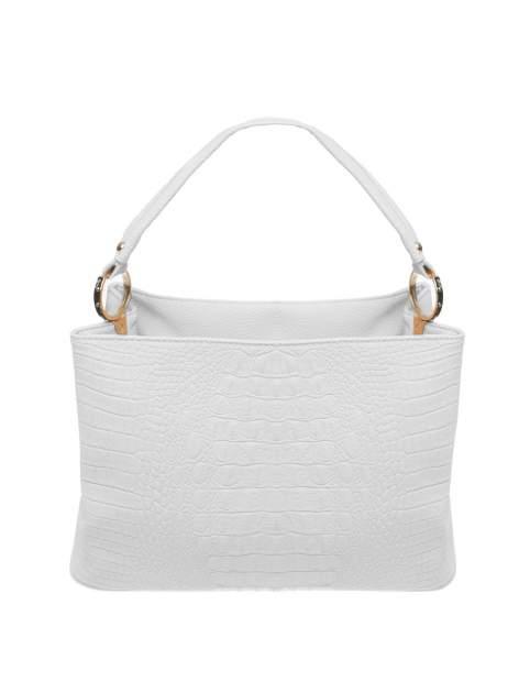 Biała torebka na ramię tłoczona na wzór skóry krokodyla