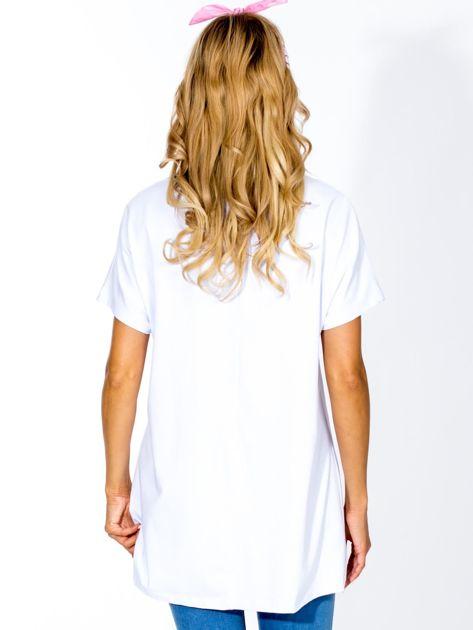 Biała tunika z nadrukiem boho                               zdj.                              2