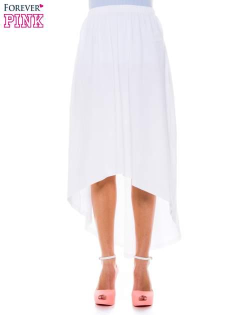Biała zwiewna spódnica z dłuższym tyłem                                  zdj.                                  1