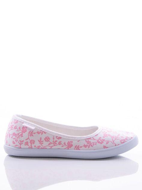 Białe baleriny w różowe kwiatki                                zdj.                              1