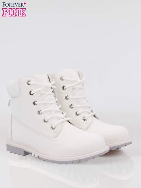 Białe buty trekkingowe damskie traperki Habbie                                  zdj.                                  2