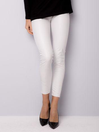 Białe dwustronne legginsy skórzane