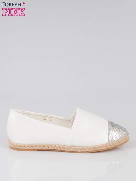 Białe espadryle z noskiem glitter