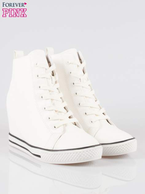 Białe klasyczne trampki na koturnie sneakersy                                  zdj.                                  2