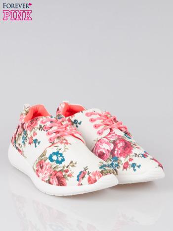 Białe kwiatowe buty sportowe Bring It On na podeszwie flex                                  zdj.                                  2