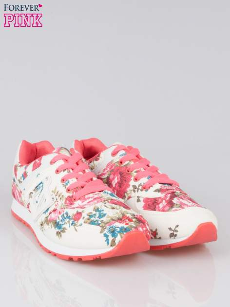 Białe kwiatowe buty sportowe faux leather Carry On w stylu casual                                  zdj.                                  2