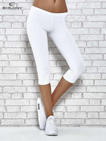 Białe legginsy sportowe termalne z dżetami na nogawkach                                  zdj.                                  1