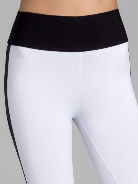 Białe legginsy ze skórzanymi lampasami po bokach                                  zdj.                                  5