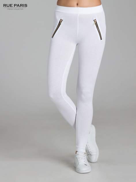 Białe legginsy ze złotymi zamkami                                  zdj.                                  1