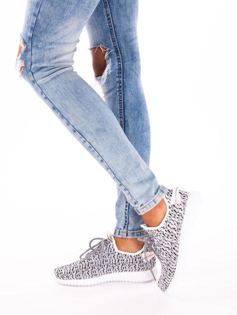 Białe marmurkowe buty sportowe pattern z tkaniny z uchwytem z tyłu                               zdj.                              5