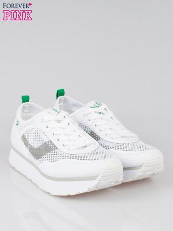Białe siateczkowe buty sportowe textile High Level na platformie                                  zdj.                                  2