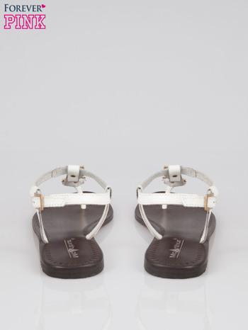 Białe skórzane sandały japonki ze złotą aplikacją Magic                                  zdj.                                  3
