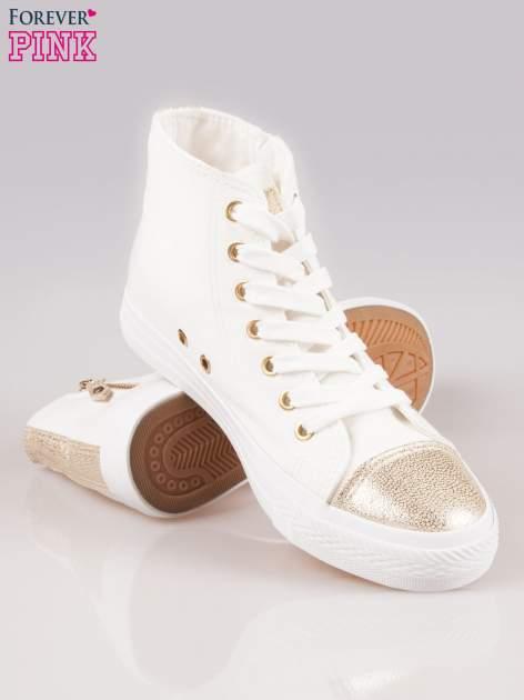Białe sneakersy gold cap toe z suwakiem z boku                                  zdj.                                  4