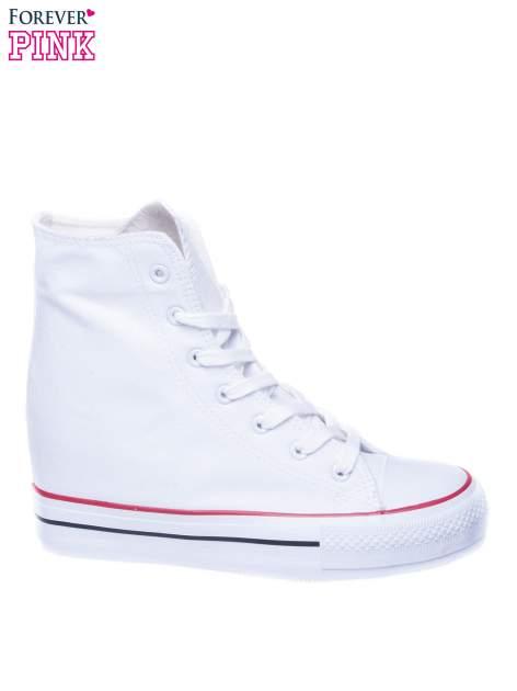 Białe sneakersy trampki damskie na koturnie