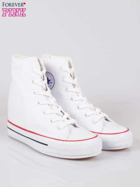Białe sneakersy trampki damskie na koturnie                                  zdj.                                  2