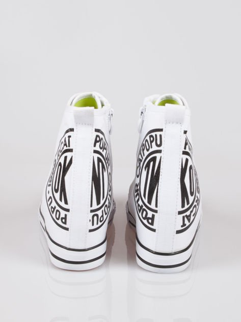 Białe trampki na koturnie sneakersy z logo Joann                              zdj.                              3