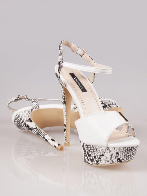 Białe wężowe sandały na szpilce zapinane na kostce Amber                                  zdj.                                  4