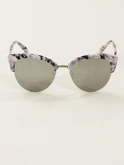 Biało-Czarne Marmurkowe Okulary Przeciwsłoneczne KOCIE OCZY                               zdj.                              2