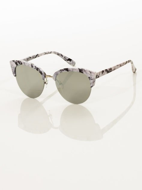 Biało-Czarne Marmurkowe Okulary Przeciwsłoneczne KOCIE OCZY                               zdj.                              4
