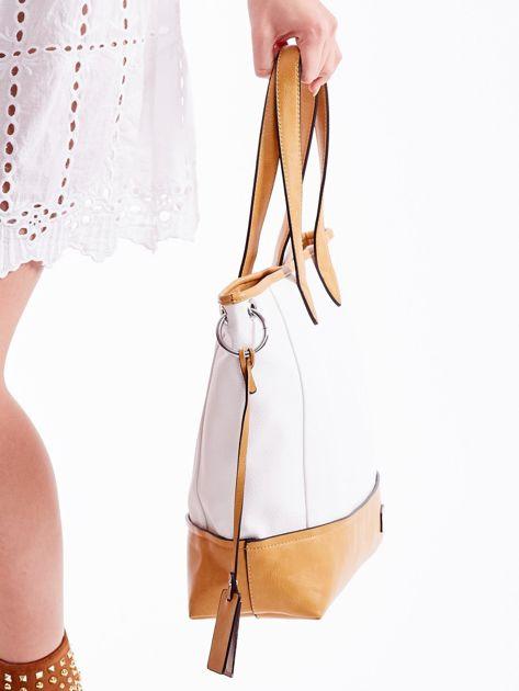 Biało-brązowa torba shopper z eko skóry z odpinanym paskiem                              zdj.                              3