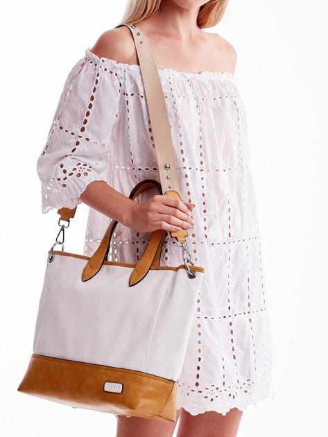Biało-brązowa torba shopper z eko skóry z odpinanym paskiem                              zdj.                              5