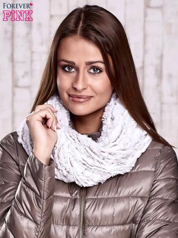 Biało-brązowy futrzany komin                                  zdj.                                  1
