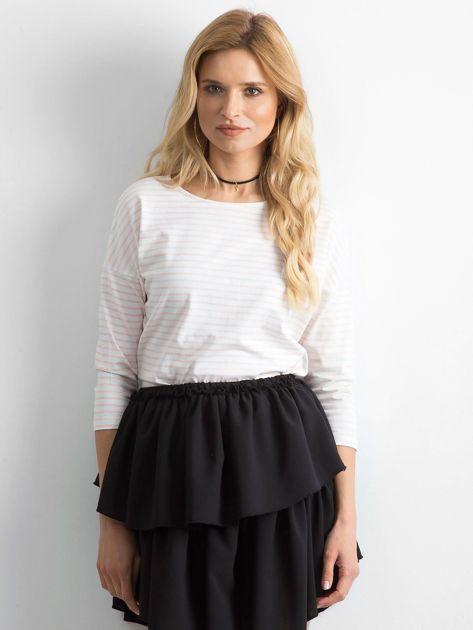 Biało-brzoskwiniowa bluzka damska w paski                              zdj.                              1