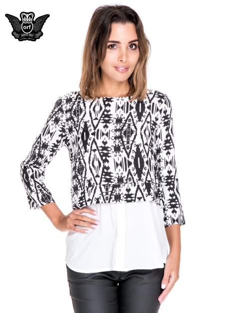 Biało-czarna dwuwarstwowa koszula we wzór ornamentowy                                  zdj.                                  1