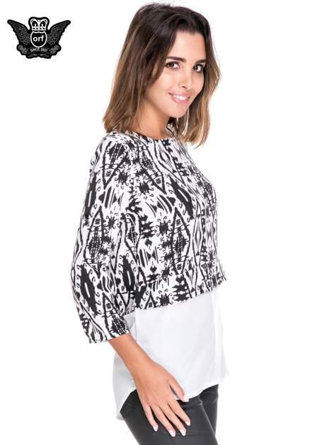 Biało-czarna dwuwarstwowa koszula we wzór ornamentowy                                  zdj.                                  3