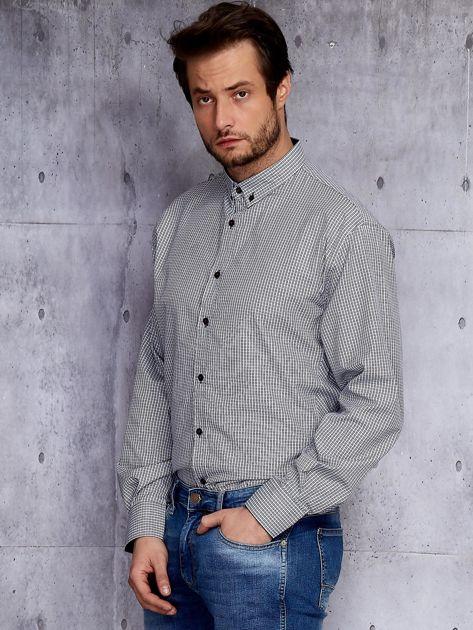 Biało-czarna kraciasta koszula męska PLUS SIZE                              zdj.                              3