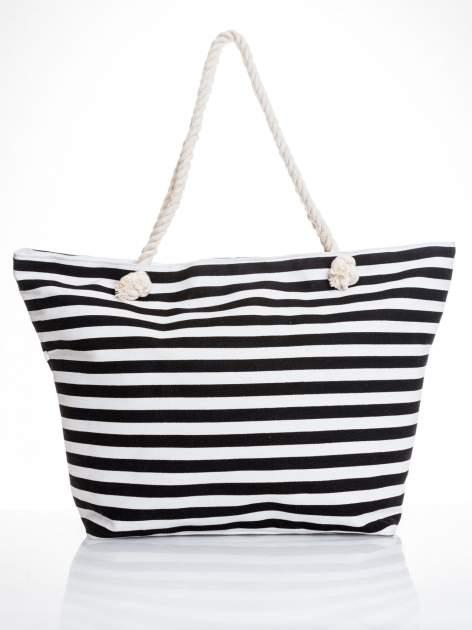 Biało-czarna torba plażowa w paski                                  zdj.                                  5