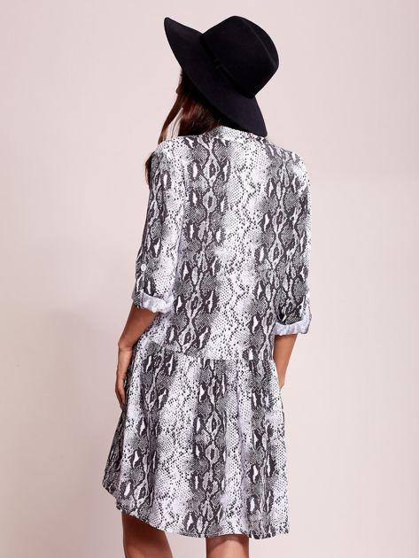 Biało-czarna wzorzysta sukienka na guziki                               zdj.                              2