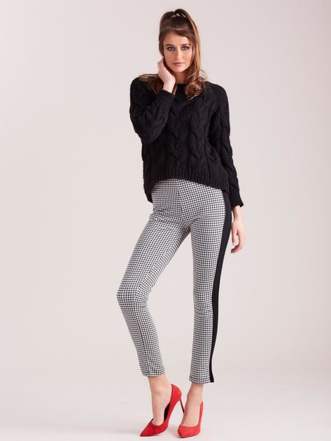 Biało-czarne legginsy w pepitkę z lampasem                              zdj.                              4