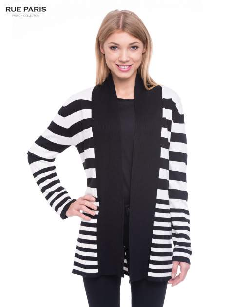 Biało-czarny pasiasty otwarty sweter kardigan z prążkowanym kołnierzem                                  zdj.                                  1