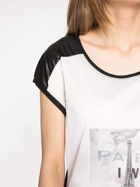 Biało-czarny t-shirt z nadrukiem wieży Eiffla                                   zdj.                                  5