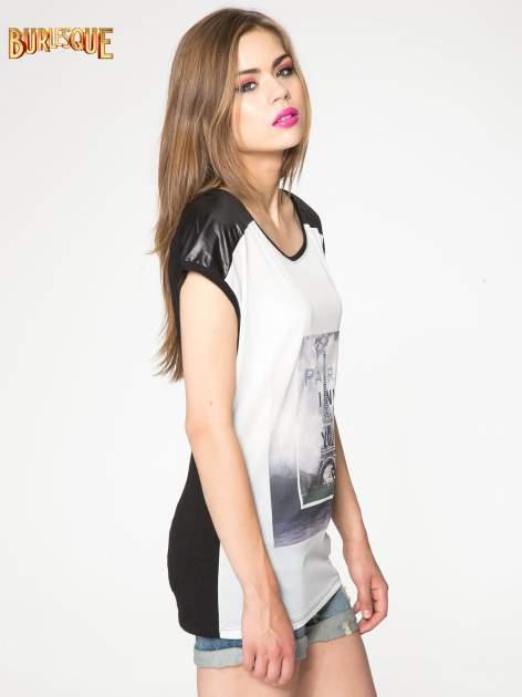 Biało-czarny t-shirt z nadrukiem wieży Eiffla                                   zdj.                                  3