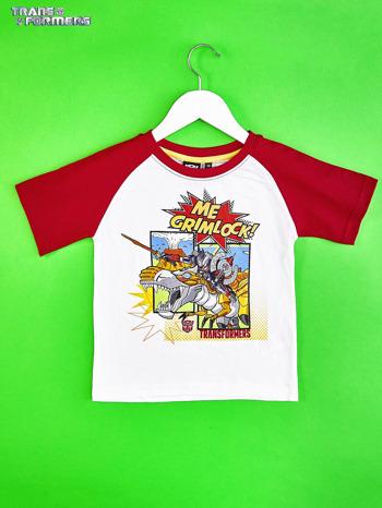 Biało-czerwony t-shirt chłopięcy z nadrukiem TRANSFORMERS                                  zdj.                                  1