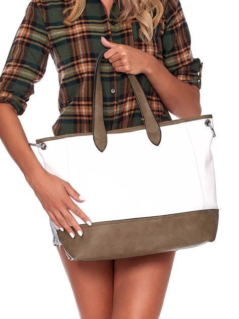 Biało-khaki torba shopper z eko skóry z odpinanym paskiem                              zdj.                              4
